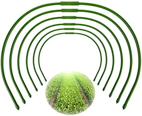 Tingyuan Greenhouse Hoops 4FT Long Grow Tunnel Plastic Coated Steel Hoops  with Joint Connectors, Pack of 10
