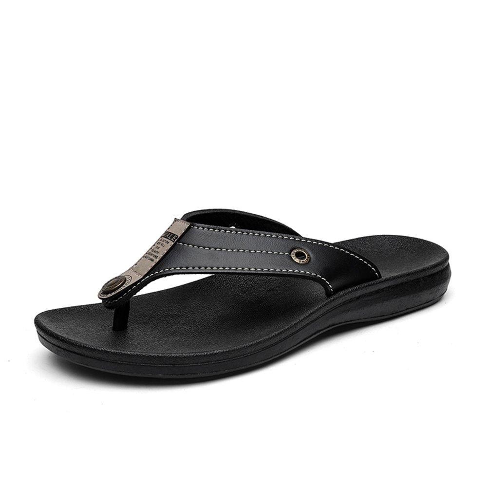 Sunny&Baby Chancletas de la Correa de los Hombres Zapatillas de Playa Sandalias Antideslizantes de Cuero Genuino con Hebilla Decorration Resistente al Desgaste (Color : Negro, Tamaño : 40 EU) 40 EU Negro