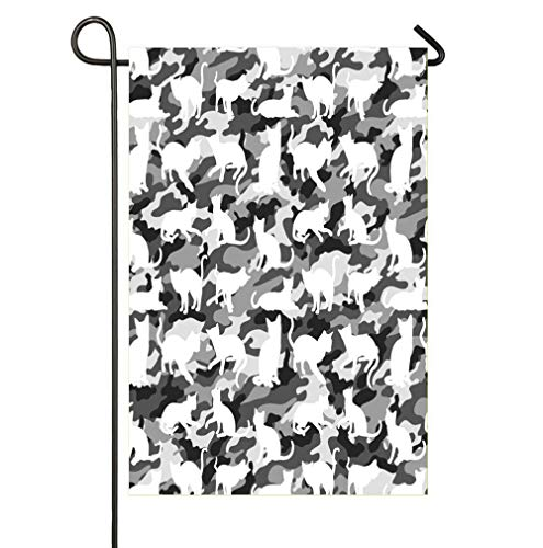 SmallGardenflagMim Black and White Arctic Snow Cat Catmouflage Camouflage Garden Flags for Your Garden Decoration -