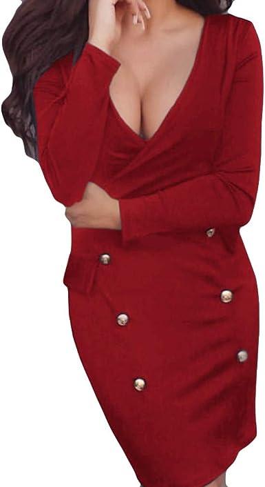 LUCKYCAT Vestido Ajustado Sexy para Mujer con Escote en V Profundo, Manga Larga, Fiesta de Noche, Mini Vestido: Amazon.es: Ropa y accesorios
