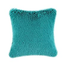 Home Pillowcase cover Cushion Covers Shell Super Soft Plush Faux Fur Bed Sofa Home Teal Color 18 X 18 Inches