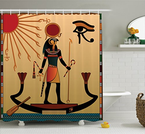 Ambesonne Egyptian Shower Curtain, Ancient Figure Sun Old Egyptian Religion Grace Icons Tradition Illustration Print, Fabric Bathroom Decor Set with Hooks, 70 Inches, Cream Red