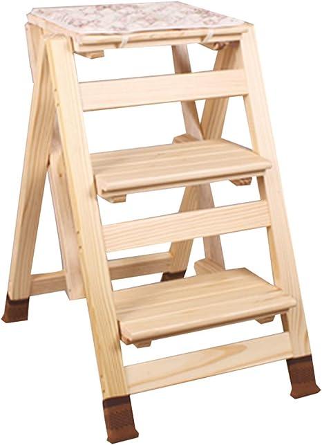 FOKN-ladder Escalera Plegable Multifuncional Casa Madera Maciza Portátil Encogimiento Taburete Pequeña Escalera De Madera 2/3 Escalones De Piso Color Múltiple,Alto 51 / 65CM,3steps-2: Amazon.es: Hogar