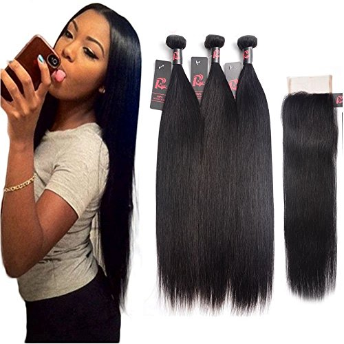 Mink 8A Malaysian Straight Hair with Closure 3 Bundle with Lace Closure 100% Unprocessed Virgin Human Hair Weaving Remy Human Hair Extensions (18