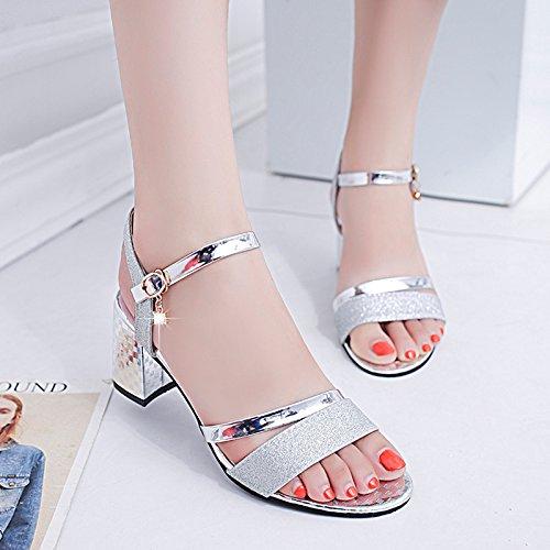 YMFIE Verano de señoras de Moda Toe Zapatos de tacón Alto Dulce Dama Tacones Altos. silvery
