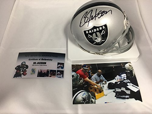 Nfl Raiders Helmet (Bo Jackson Signed Autographed Raiders Mini Helmet GTSM Player Hologram & COA)
