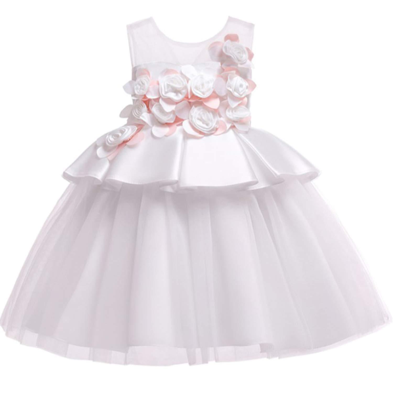 de00293d2d Amazon.com: Baby Girls Dress Pageant Flower Children Costume Dresses  Sleeveless Dresses for Girls Summer Clothes,White,3T: Kitchen & Dining