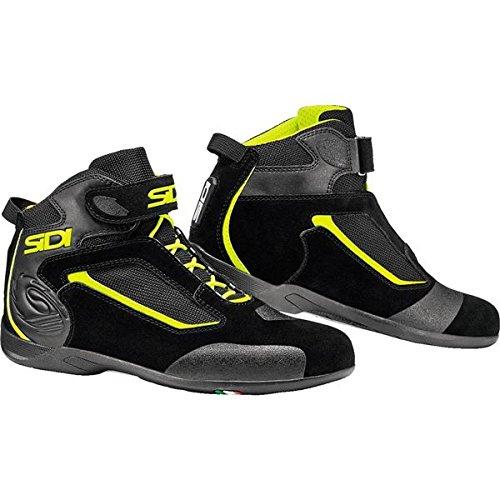 Sidi Gas Motorcycle Riding Shoe Black/Flo Yellow US11.5/EU46 (More Size Options)