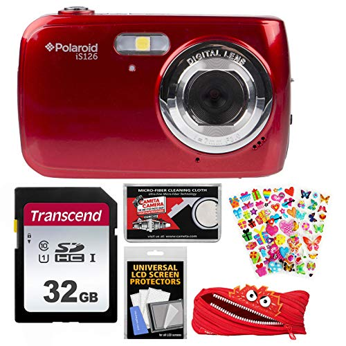 Polaroid iS126 16.1MP Digital Camera (Red) with 32GB Card + Case + Puffy Stickers + Kit