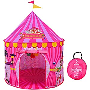 Play Tent for Kids Vibrant Pink Toy Circus Tent in Sturdy Carrying Bag, Durable, Lightweight & Portable Kids Tent for Indoor & Outdoor Use, Easy Setup & Storage, Great Gifting Idea