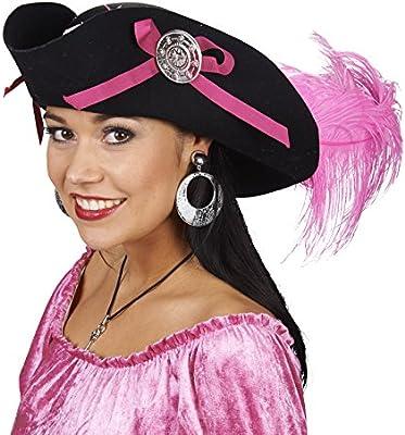 comprar barato productos de calidad precio bajo Sombrero Pirata con Pluma - Negro - Accesorio Disfraz Mujer ...