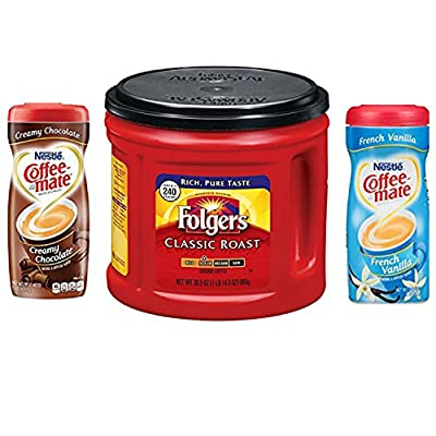 Folgers Coffee Classic Roast Bundle With 2 Coffeemate Creamer Powder Varieties. Convenient One-Stop Shopping For Great Tasting Coffee. Easy To Source These Popular Products With 1 Click. Java Heaven