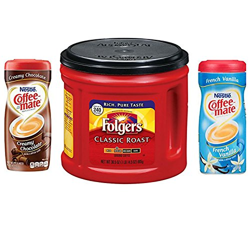Folgers Coffee Classic Roast Bundle With 2 Coffeemate Creamer Powder Varieties. Convenient One-Stop Shopping For Great Tasting Coffee. Easy To Source These Popular Products With 1 Click. Java - 100 Nj Part