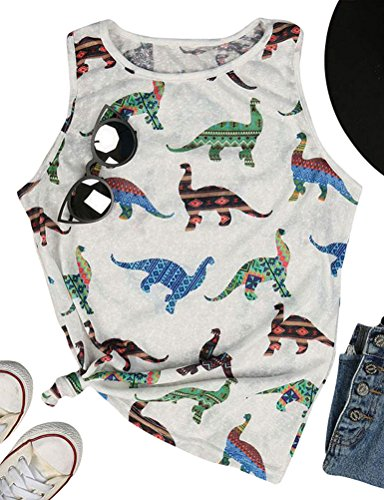 - ZJP Women Summer Casual Colorblock Tank Tops Round Neck Dinosaur Print Shirt Tee