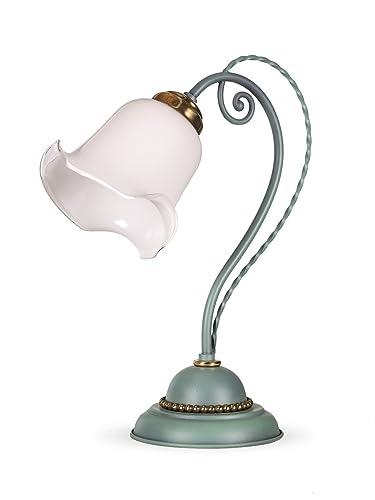 Tischlampe Glas Antik Lampe Leuchte Tischleuchte Jugendstil Nachttischlampe Neu