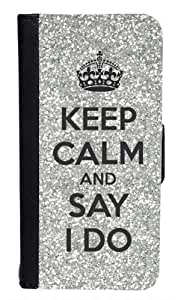 CellPowerCasesTM Keep Calm and Say I Do Silver Bi-fold iPhone 4 Case - Fits iPhone 4 & iPhone 4S