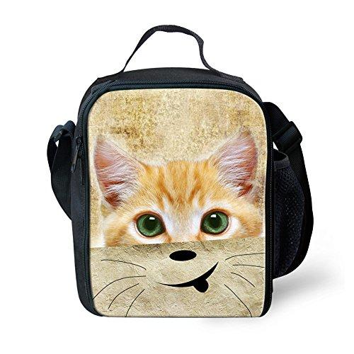 Showudesigns Fashuion - Bolsa de almuerzo para niños, diseño de animales Small Cat 3 Cat 3