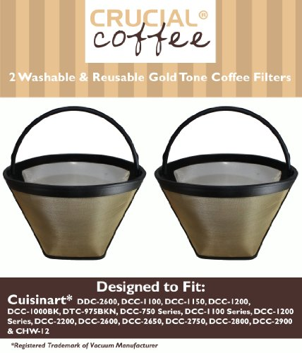 2 Cuisinart Washable & Reusable GTF Gold Tone Coffee Filters, Fits Cuisinart Models DDC-2600, DCC-2700, DCC-1100, DCC-1150, DCC-1200, DCC-1000BK, DTC-975BKN, DCC-750 Series, DCC-1100 Series DCC-1200 Series, DCC-2200, Designed & Engineered by Crucial Coffe by Crucial Coffee