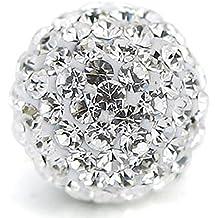 RUBYCA Pave Czech Crystal Disco Ball Clay Beads fit Shamballa Jewelry (20pcs, 10mm, White Clear)