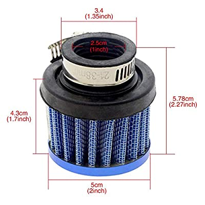 ZYHW Auto Car Universal 25mm Inlet Dia Air Intake Cone Filter Parts Blue: Automotive