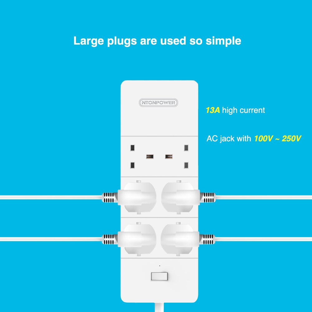 6 Gang Extension Lead with 5 USB Power Strip and Anti Surge ...