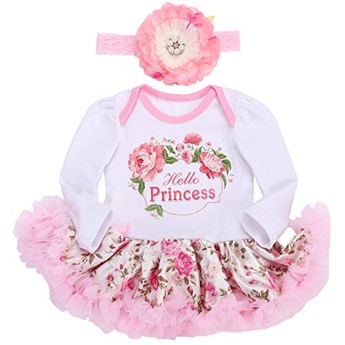 Smilsheep Garland Wedding Newborn Dress Bodysuit Headband set Wreath long sleeve 0-3Months/21-23''/11-13lb
