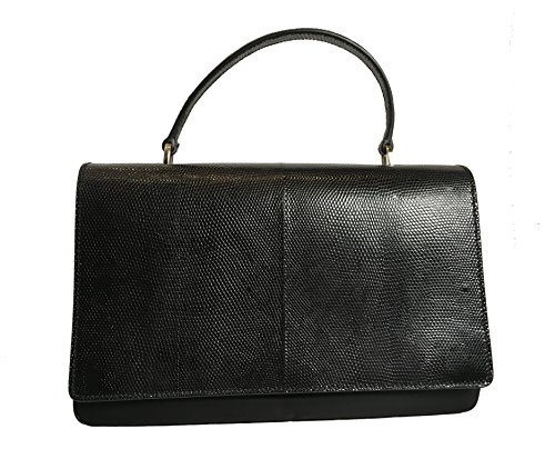 Prada Black Reptile Leather and Nylon Designer Crossbody Bag for Women 1BA016 ()