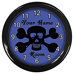 Personalized Black Skull And Cross Bones Blue Black Frame Novelty Wall Clock