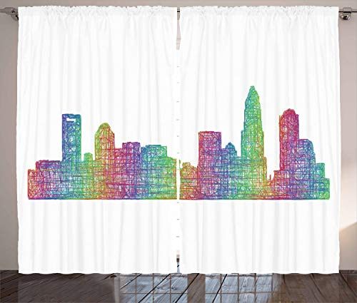 Lunarable North Carolina Curtains, Contemporary Style Charlotte City Scene in Colorful Buildings USA Panorama, Living Room Bedroom Window Drapes 2 Panel Set, 108 W X 108 L Inches, Multicolor