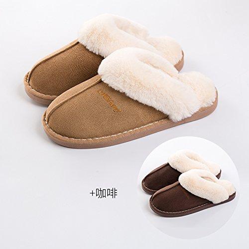 DogHaccd pantofole,Il cotone pantofole donne eleganti fondo spesso giovane inverno caldo al coperto le donne in stato di gravidanza non-slip home uomini semplice home scarpe, kaki (femmina) + caffè, f