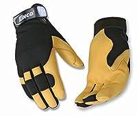 KINCO 101-S Men's Unlined Grain Deerskin Drivers Gloves, Small, Yellow/Black