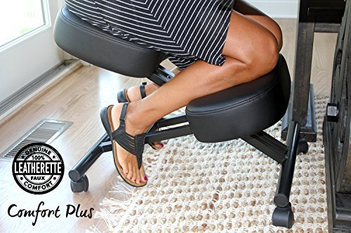 Comfort Plus Soft Leather Kneeling Chair | Ergonomic Kneeling Chair Designed to Correct Posture add Comfort | Soft, Adjustable, Rollers | Kneeling Chair for Home and Office | Warranty Included by Comfort Plus