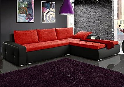 Divano Letto Angolare Rosso.Max Nero E Rosso In Ecopelle E Tessuto Grande Divano Angolare