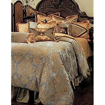 high-quality Michael Amini 13 Piece Pontevedra Comforter Set, King, Gold/Brown