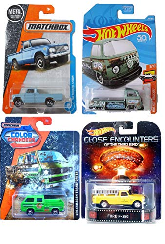 Pickup Selection from Matchbox and Hot Wheels - Close Encounters Entertainment Ford F-250, Volkswagen T2 Pickup, Color Changers Transporter, and Meta 1962 Nissan Junior Baby Blue 4-Car Bundle