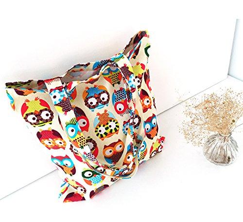 Bag Storage Bag Bag Printed Casual 1X Shoulder Women Beach Handbags Cdet Owl Lovely Canvas Shopping Tote Zxq1g0nawW