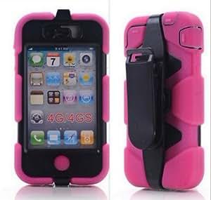Sport Outdoor Military Heavy Duty Survivor Case Belt Clip For Apple iPhone 4 4G 4S - Rose Pink