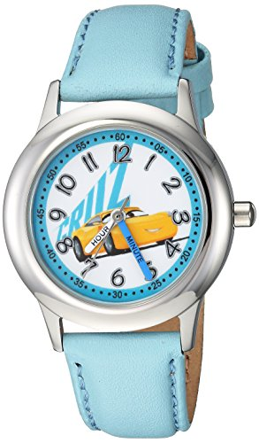 Disney Girl's 'Cars 3' Quartz Stainless Steel Casual Watch, Color:Blue (Model: WDS000295)