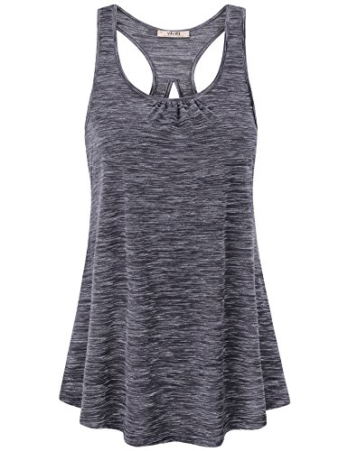 Vivilli Activewear Tank Tops For Women, Ladies Casual Sleeveless Workout Shirts Sports Wear Keyhole Round Neck Flattering Cool Activewear Racerback Tank Tops Grey (Racerback Tunic Top)