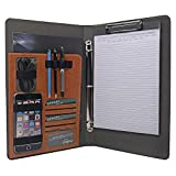 3 Ring Binder Portfolio Organizer, Business Padfolio with 3-Ring Binder for Legal Size 8.5 x14 Inches Papers Documents