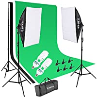 Kshioe Photo Video Studio Light Kit - Includes Studio Background Stand,Muslin Backdrops(Green Black White), Umbrella, Softbox,Lamp Holder And LED Bulbs