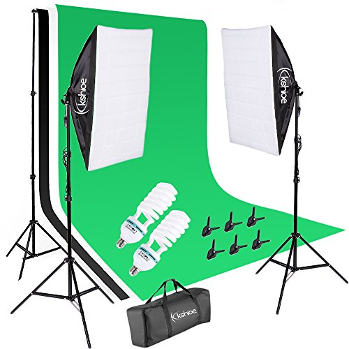 Kshioe Photo Video Studio Light Kit - Includes Studio Background Stand,Muslin Backdrops(Green Black White),Softbox,Lamp Holder And LED Bulbs,Clips