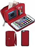 iPhone 6/6SWallet Case, HYSJY Girls Women Magnets Detachable Zipper Wallet Case iPhone 6/6S Cover PU Leather Folio Flip Holster Carrying Case Card Holder for iPhone 6 /6S 4.7'' (Red)