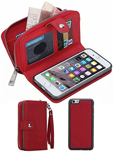 iPhone 6/6S Plus Wallet Case, HYSJY Girls Women Magnets Detachable Zipper Wallet Case iPhone 6/6S Plus Cover PU Leather Folio Flip Holster Carrying Case Card Holder5.5(Red)