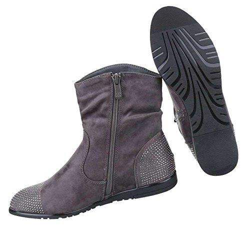 Damen Boots Stiefeletten Schuhe Mit Strass Schwarz Grau Rot 36 37 38 39 40 41 Grau