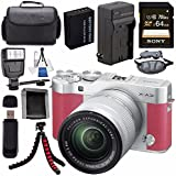 Fujifilm X-A3 Digital Camera w/16-50mm Lens (Pink) 16531659 + NP-W126 Lithium Ion Battery + External Rapid Charger + Sony 64GB SDXC Card + Case + Tripod + Flash + Card Reader + Card Wallet Bundle