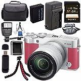Fujifilm X-A3 Digital Camera w/16-50mm Lens (Pink) 16531659 + NP-W126 Lithium Ion Battery + External Rapid Charger + Sony 64GB SDXC Card + Case + Tripod + Flash + Card Reader + Card Wallet Bundle