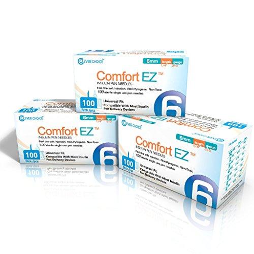 "Clever Choice Comfort EZ Insulin Pen Needles 31G 6mm (1/4"") 3-pack (300 needles)"