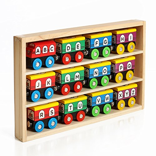 Magnetic Alphabet Train - 12 Piece ABC And 123 Wooden Engines & Train Cars, Compatible With Thomas Wooden Railway, Brio And Most Other Brands