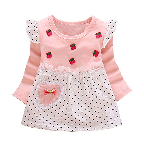 (MH-Lucky Baby Girl Clothes Outfits Long Sleeved Cotton Dress (Pink, 12-18)